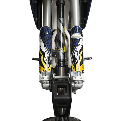 Close-up of TRIO front shock.