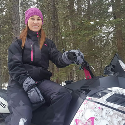 Tanya Vogt on her sled.