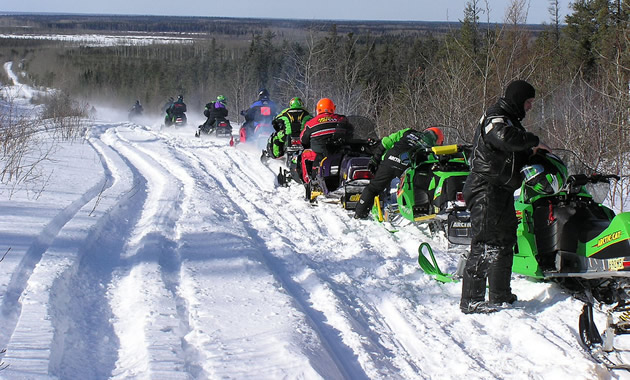 Snowmobiling in The Pas