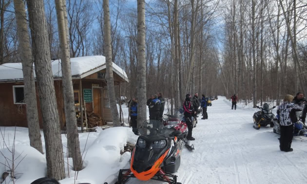 With lots of snowmobilers, this shows a busy day at the Big Bend Shelter.