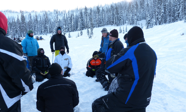 Participants listen intently at a typical avalanche safety field session.