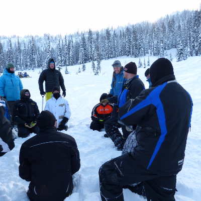 Field session during an avalanche training course include lots of fun and informative hands-on activities.