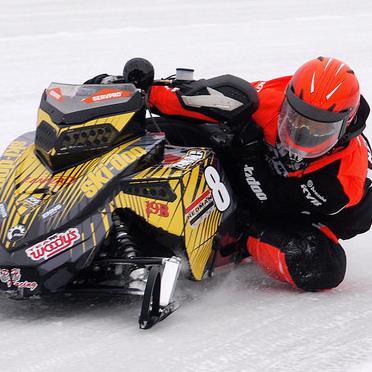 Travis McDonald riding at the Canadian Power Toboggan Championships.