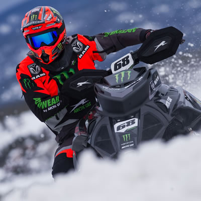 Tucker Hibbert on his snowmobile.