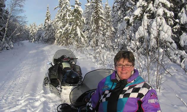 Robert Vipond's wife Shirley sledding near The Pas.