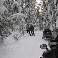 Robert Vipond's son Ryan with his wife Shirley on the trail between Wanless and The Pas. Locally called the