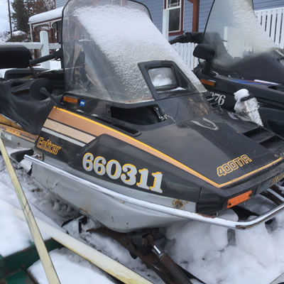 A Yamaha Enticer 400 T-R, the ultimate working man's sled.