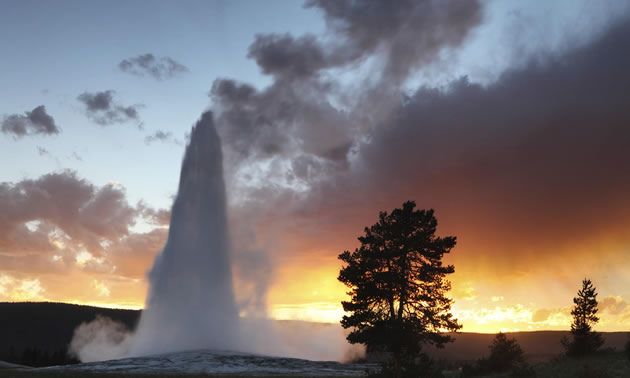 Yellowstone Park at sunset with geyser.