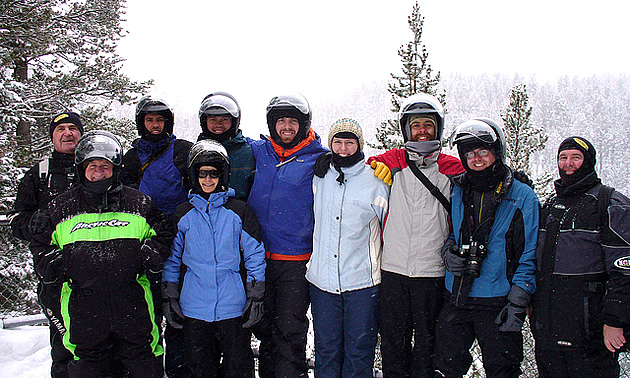 a group of sledders in West Yellowstone, Montana