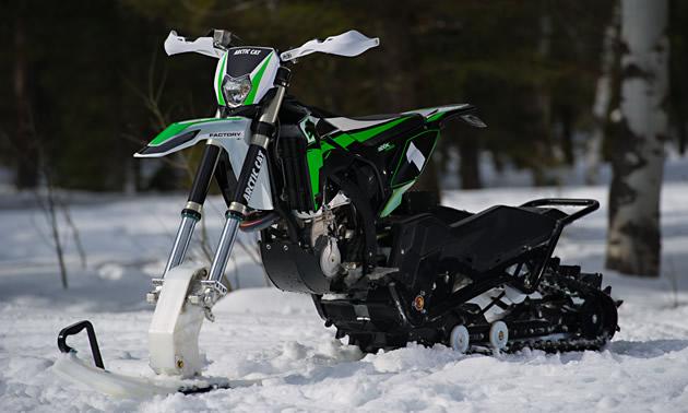 The new Arctic Cat SVX 450 snow bike.