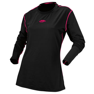 Pink and black base layer shirt for women snowmobilers.