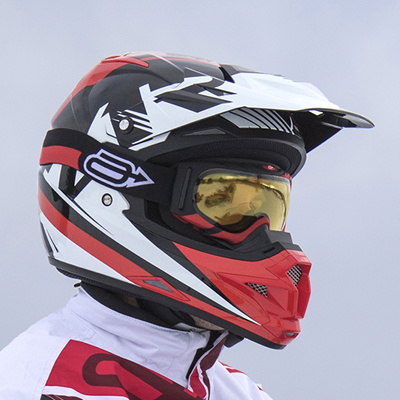 Red and black Arctiva Snowmobile Goggles.