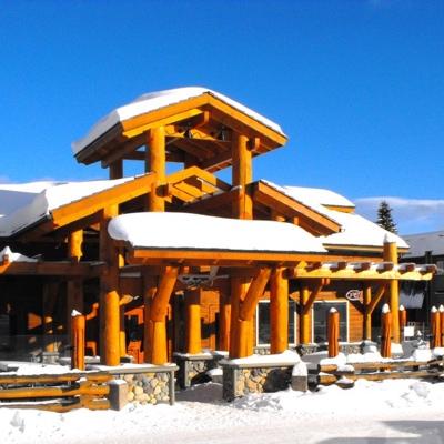 Exterior of Aspen Inn on a sunny winter day