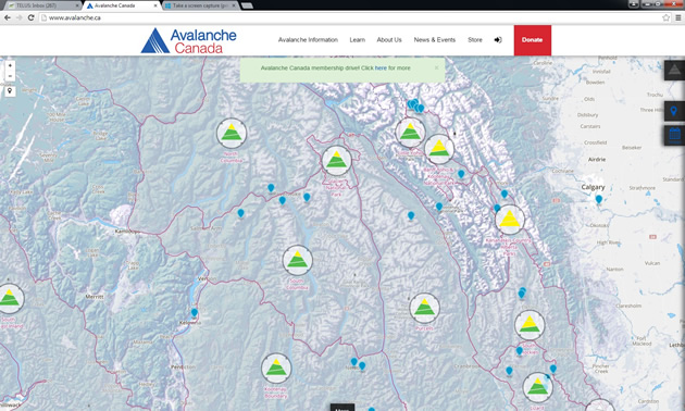A screen shot from Avalanche Canada's website showing MIN submissions on the map.