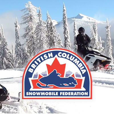 An image of snowmobiling with the BCSF logo and ABCSnow logo.