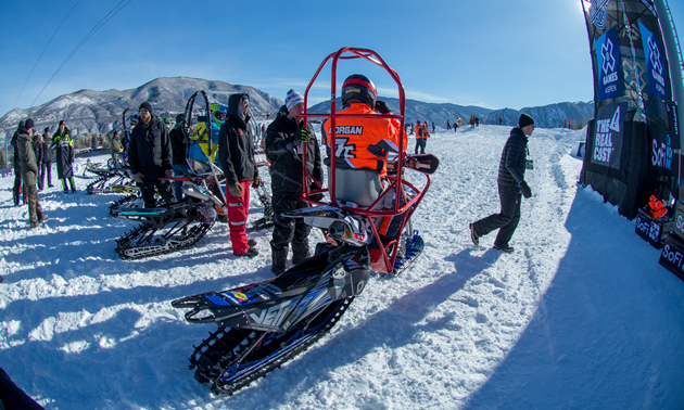 Blair Morgan racing snow bike at X Games.