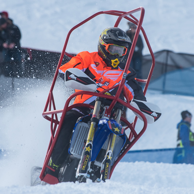 Blair Morgan racing snow bike at X Games.
