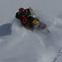 Snowmobiling in Blue River, BC
