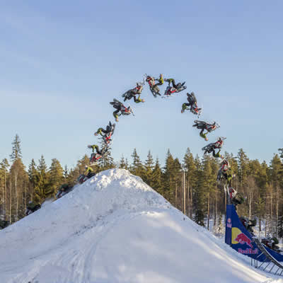 Daniel Bodin, double snowmobile backflip.