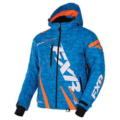 Blue and orange Boost Jacket from FXR Racing.