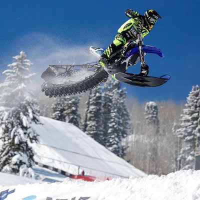 Brock Hoyer taking the gold medal at first ever snow bike race at Winter X Games.