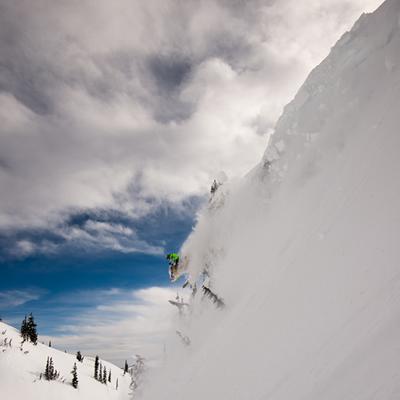 Slednecks star Brodie Evans drops into the Revelstoke sky.