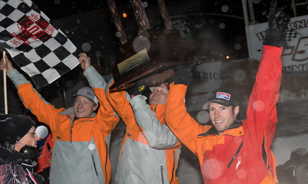 The Bunke Racing team of Gabe Bunke, Aaron Christensen and Taylor Bunke won the Soo I-500.