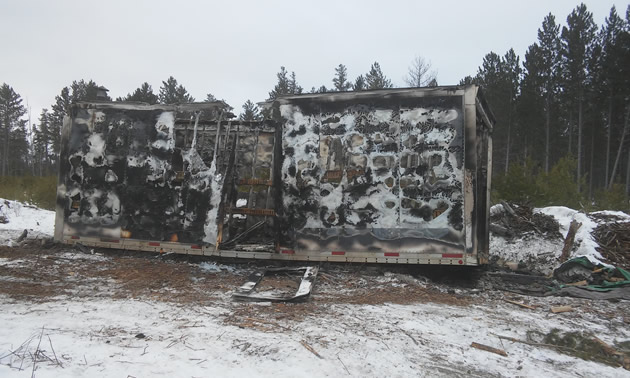 Picture of burnt-out shelter.