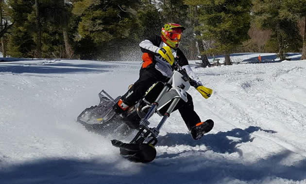 Trying out the CMXBK snow bike on a 500 KTM.