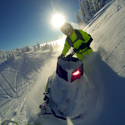 A GoPro photo of a snowmobiler sidehilling in Sicamous.