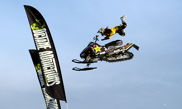 X Games Gold Medallist Colten Moore flying through the air on his Polaris.