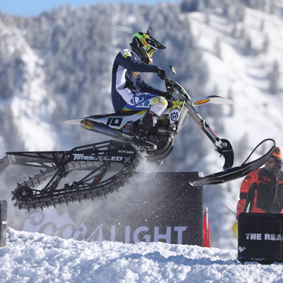 Colton Haaker racing snow bike at X Games.