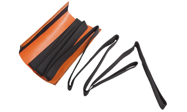 A black tow strap in an orange carrying case.