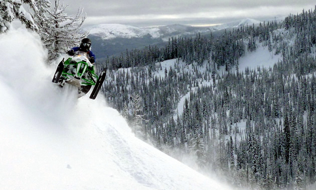 Snowmobiling in the Chute near Cranbrook.