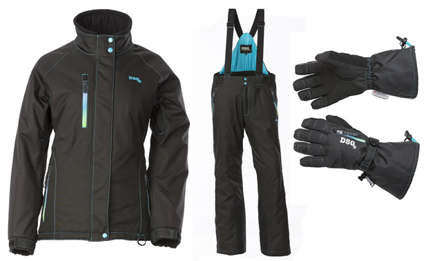 Black and Blue snowmobile jacket and pants for women.