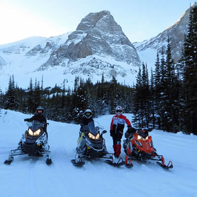 Snowmobile trail conditions are often ideal in the Crowsnest Pass.