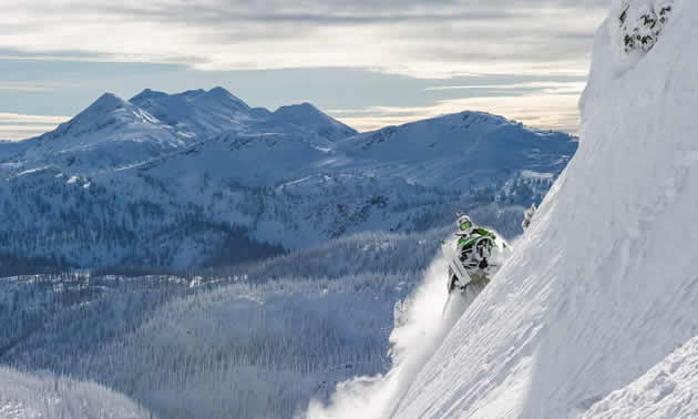 Derrick Neill on a steep sidehill in Revelstoke.