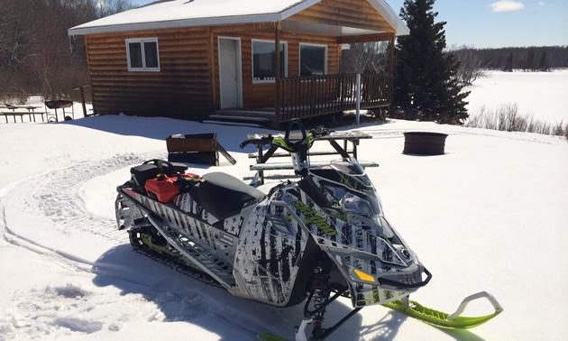 A Ski-Doo parked at the Green Lake warm-up shelter.