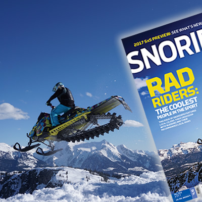 Stephanie Schwartz doing a snowmobile jump on the cover of Fall 2015 issue of SnoRiders magazine.