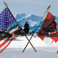 Picture of winter snowmobile scene, with U.S. and Canadian flags superimposed on top of picture.