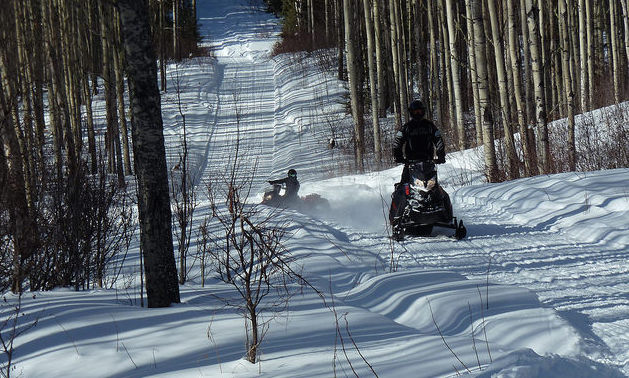 Two riders on the trail near the Muffaloose firepit on Stoney mountain at the 2015 poker rally