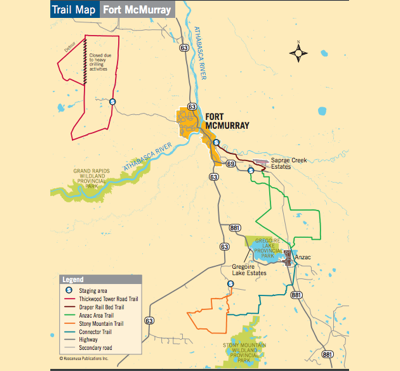 A map of trails around Fort McMurray