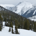 A scenic shot of snowy mountains and slopes covered in trees.