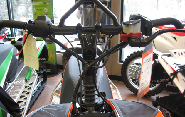 Handlebars on a snowmobile.
