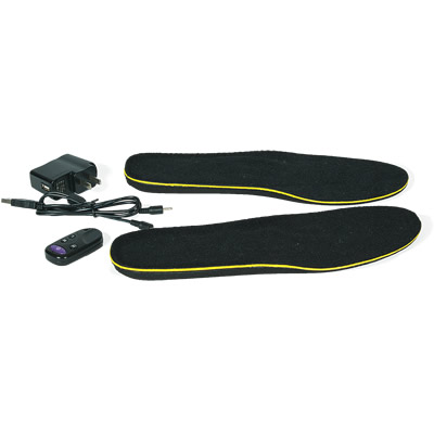 Black heated insoles with a remote control and charger.