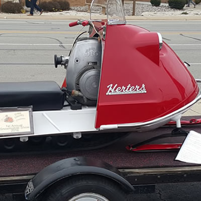 For John Samolis, all the hard work of restoring his 1968 Herters snowmobile paid off with a first win at a vintage sled show.