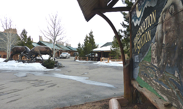 The entrance to The Hibernation Station in West Yellowstone.