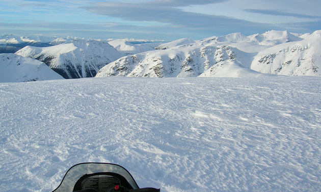 This is a photo of a winter landscape covered in snowy mountaintops in the Telkwa Range near Houston, B.C.