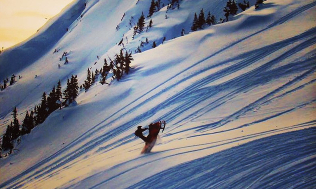 Shea Long is roostin' in the Shoot Out in the Telkwa Range outside of Houston.