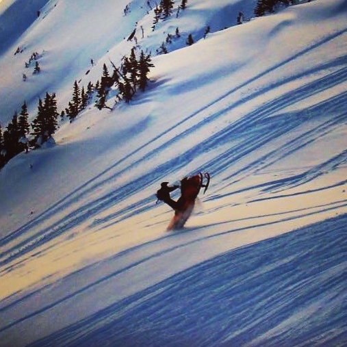 Shea Long roostin' in the Shoot-Out in the Telkwa Range just outside of Houston. - Photo courtesy Shea Long.